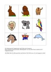 Belohnungsliste mit Tierbildern