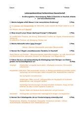 Ernährungslehre, Hausreinigung, Mathematik & Umweltgerechtes Handeln