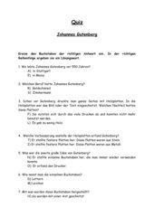 Johannes Gutenberg Quiz