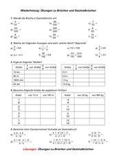 Brüche Und Dezimalbrüche   Klasse 7