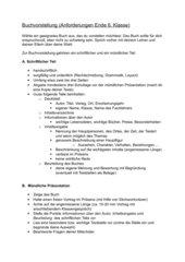 Kriterien für eine Buchvorstellung Ende 6. Klasse