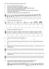 Notennamen, - lagen, Noten- und Pausenwerte, Vorzeichen, Dur- und Molltonleiter