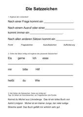 Arbeitsblatt zu Satzzeichen .!? mit Lösung
