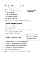 TousEnsemble4  Lektion2b Fragen zum Text