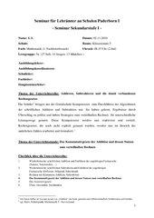Unterrichtsentwurf - Kommutativgesetz der Addition (Unterrichtsbesuch) Klasse5