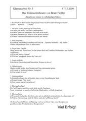 KA - Deu - 7 - Fragen zu einer Lektüre - Das Weihnachtstheater von Beate Fiedler