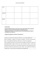 4teachers - Arbeitsblatt Übung These-Argument-Beispiel