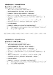 Questions sur la lettre de Charlotte