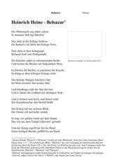 Heinrich Heine - Belsazar + Aufgaben