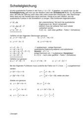 Quadratische Funktionen - Scheitelform