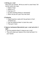 Writing an e-mail: evaluation sheet