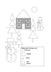 Winterbild geometrische Figuren Kl 1 mit Lösung