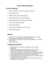 Projekt Weimarer Republik