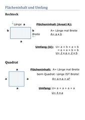 4teachers lernplakat fl cheninhalt und umfang rechteck quadrat. Black Bedroom Furniture Sets. Home Design Ideas