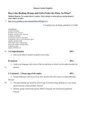 Klausur Gender Roles 11. Klasse