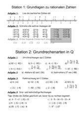 Stationsarbeit rationale Zahlen
