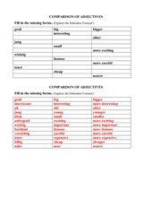 Steigerung von Adjektiven / Tabelle ergänzen