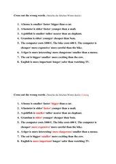 Themenfeld Steigerung von Adjektiven/ Cross out the wrong words