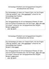Satzaussage und Satzgegenstand
