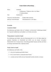 Unterrichtsplanung Deutschunterricht vor 100 Jahren 2. Klasse