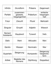 Memo-Spiel/Zuordnungsspiel zu grammatische Grundbegriffe
