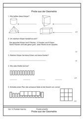 Probearbeit aus der Geometrie - Körper - 2. Klasse