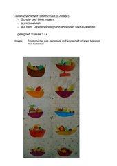 Deckfarbenarbeit: Obstschale (Collage auf Tapete)