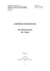 ausführlicher Unterrichtsentwurf: Höhenstufen der Alpen (RS Kl.6)