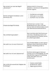 Gruppenturnier Bundestag, Verfassungsorgane, Demokratie