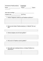Fragebogen zum Praktikumsberuf
