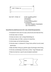 Benotungsblatt für Heftführung