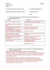 Klassenarbeit  Politik Rechte und Pflichten Azubi, Kündigung, etc.