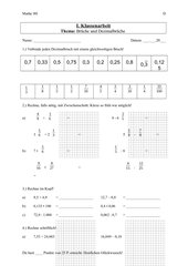 Klassenarbeit - Brüche und Dezimalbrücke Klasse 9