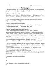 Test über Hockeyregeln