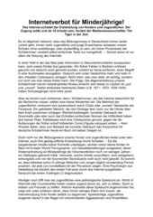 Argumentieren: Internetverbot für Minderjährige + Musterlösung