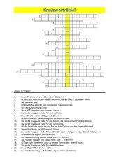 Kreuzworträtsel - Kirchenjahr