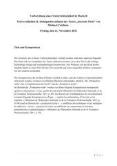 Unterrichtsentwurf Deutsch Lektüre-Verständnis-Antizipation