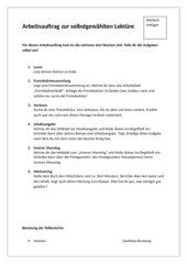 Arbeitsauftrag zu einer selbstgewählten Lektüre
