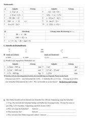 rationale Zahlen, Dezimalzahlen, einfache Gleichungen,