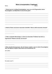 Schüler- Fragebogen Hausaufgaben- und Material-Orga