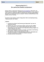Erich Kästner - Die Entwicklung der Menschheit - Bewertungsschema