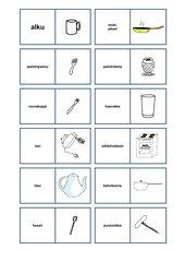 Küchengeräte Wort-Bild-Zuordnung (Finnisch)