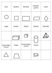 Memo-Spiel / Zuordnungsspiel: Geometrische Formen / Körper