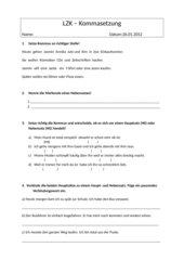 Lernzielkontrolle Kommasetzung Haupt- und Nebensätze