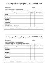 Der Schülererfassungsbogen LEB  für das Turnen in Klasse 5/6