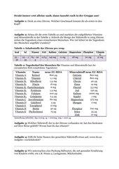 Aufgaben und Tabellen zum Text
