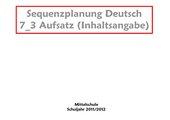 Sequenzplanung Inhaltsangabe HS 7 Bayern