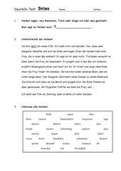 Deutscharbeit: Thema Verben