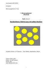 Neid ist grau mit gelben Punkten Textarbeit HS 7 Bayern