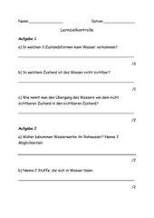 Lernzielkontrolle Grundschule Klasse 3 - Thema Wasser